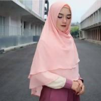 khimar ceruty 2 layer non pet syari hijab jilbab kerudung instant