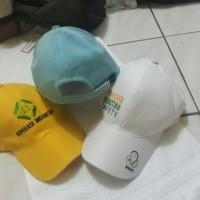 topi bahan raffel bisa custom bordir - Putih