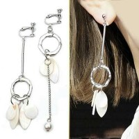 Anting Korea Tassel Elegant Pearl Shell No Needle/Anting Import Unik