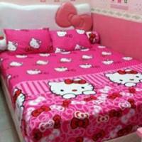 set sprei dan bedcover hello kitty dotie pink 160x200x30