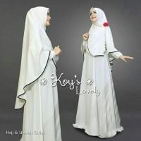 baju setelan muslim lovely syari putih fashion wanita setelan gamis