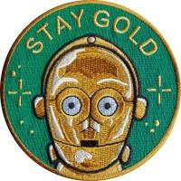 Emblem Patch Stay Gold 6x6cm Full benang Bordir Full Benang Premium
