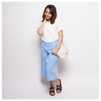 Celana Kulot Culotte Wanita Polos Katun Biru Muda