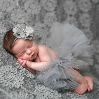 Kostum foto Bayi Properti Foto bayi rok tutu balerina kembang Grey abu