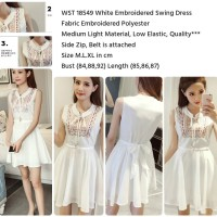 White Embroidered Swing Dress (L,XL) - 18549