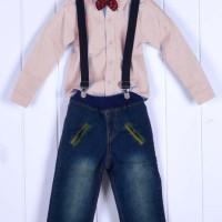 (SALE) Setelan anak 4in1 kemeja coklat & jeans import (dasi&suspender)