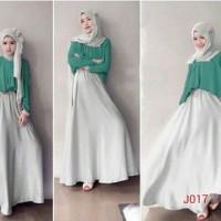 Gamis fashion long sleeve double layer plus hijab j017    promo