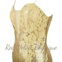 Gold Sequin Lace Embroidery Maxi Sleeveless Premium Prom Dress IMPORT