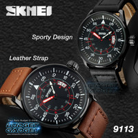 Jam Tangan Pria SKMEI Leather Strap Watch Water Resistant 30m 9113CL