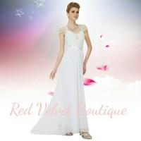 Simple Modern White Wedding Dress Bride Gown Gaun Prewed Simpel IMPORT