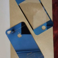 Iphone 4/4S Biru Tempered Glass Mirror Anti Gores Kaca warna Colorfull