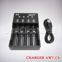 Authentic AWT C4 Charger 4 Slot Baterai Vape 18650 Fast Charging 2A