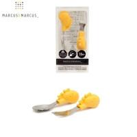 Marcus and Marcus Palm Grasp Spoon Fork Set - Yellow Giraffe