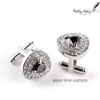 water drop diamond cufflinks manset kancing kemeja jas ready stock