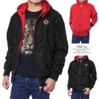 Jaket DC Pria Bolak-balik Bahan Parasut Despo Fleece Hitam Merah