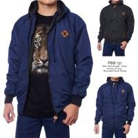 Jaket DC Pria Bolak-balik Bahan Parasut Despo Fleece Navy Hitam