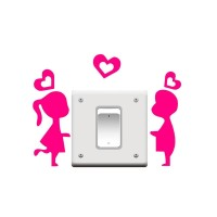 STICKER SAKLAR LAMPU MOTIF COUPLE LOVE / WALL STICKER DEKORASI RUMAH