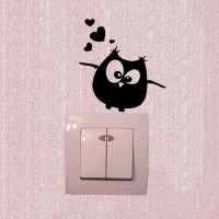 STICKER SAKLAR LAMPU MOTIF OWL LOVE / WALL STICKER DEKORASI RUMAH