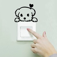 STICKER SAKLAR LAMPU MOTIF PUPPY LOVE / WALL STICKER DEKORASI RUMAH