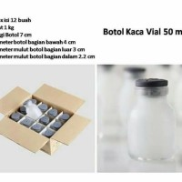 Botol Kaca Asi Vial 50ml / botol tutup karet 50ml - 12pc