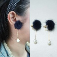 Anting Earclip Pompom Pearl No needle