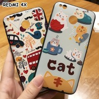 FOR XIAOMI REDMI 4X - 3D RELIEF SOFT CASE PLASTIC AND SILICONE CASING