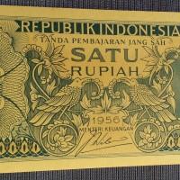 Uang kertas kuno lama jadul 1 rupiah Tahun 1956