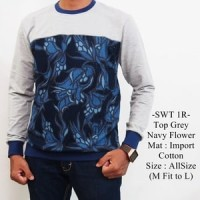Sweater Distro Casual Keren Terbaru Top Grey Navy Flower - 1R