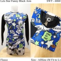 Sweater Distro Fashion Casual Keren Lets Star Funny Black Arm -6060