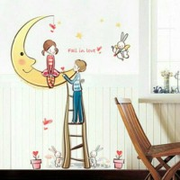 WALLSTICKER STIKER DINDING 50X70 XL7091 ROMANTIC MOON COUPLE