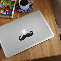 Decal Sticker Macbook Apple Moustache Kumis Lucu Stiker Laptop