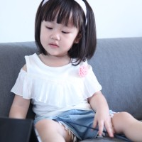 (#C776) Shoulder Sabrina Shirt with Denim Pants 1Set Baby Girl Clothes