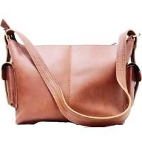 [L] Tas selempang wanita kulit sapi asli sling bag keren poket murah