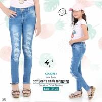 Celana Ripped Sobek Anak Tanggung Jeans Kids Girl Cewek Fashion Denim - Sea Blue, 24