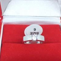 Cincin Silver Lapis Emas Putih Pria Wanita Batu Berlian Putih - BR174