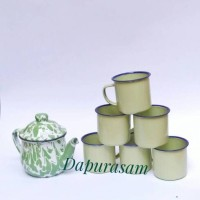 Teko Cebol + 6 Mug/Gelas Polos 7cm Enamel Seng Blek Vintage