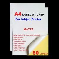 KERTAS STICkER A4 FOR INKJET PRINTER isi 50 lembar
