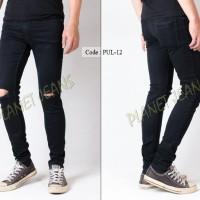 celana jeans pria sobek / robek lutut model skinny untuk cowok c-45