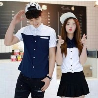 [cp blue white RO] baju couple katun biru kombi putih