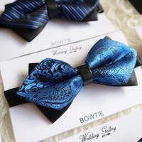 dasi kupu bowtie batik import royal blue/ biru elektrik ready