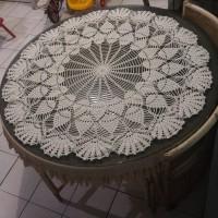taplak meja makan bulat besar rajut handmade doily#3