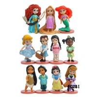 FG281 Princess Chibi Action Figure Set 11 pcs Pajangan Miniatur Topper