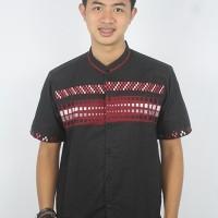 Pakaian Pria Baju Koko Muslim Casual lengan Pendek Bordir Hitam merah