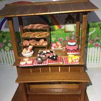 Miniatur clay roti cake gerobak warung