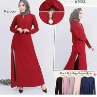 Tunik Slit Polos Babat Wanita / Long Blouse Muslim Cewek Lucu Murah