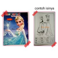 Buku mewarnai colouring dan belajar huruf hurup karakter frozen
