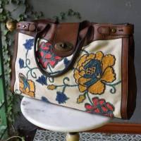 Tas Fossil Weekender Preloved Hand Bag Branded Authentic Motif Langka