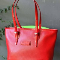 Longchamp Derby Verni Red M Preloved Tote Bag Branded Authentic