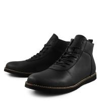 Sepatu Boots Pria Sauqi Brodo Black Doff Casual Sneakers Kerja kantor - Hitam, 39