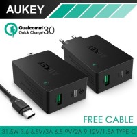 AUKEY FAST CHARGER 2 USB PORT QUICK CHARGE 3.0 WITH USB TYPE C PA-Y2